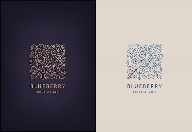 ラインロゴデザインテンプレートの葉とブルーベリー。ホリスティック医療センター、自然食品および有機食品のネイチャーバッジ