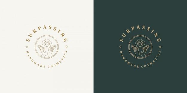 ラインのロゴのテンプレート-女性のジェスチャーの手とバラの花