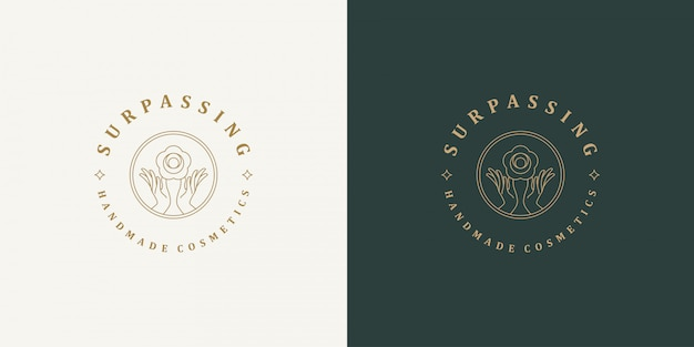 Line logo template - female gesture hands and rose flower