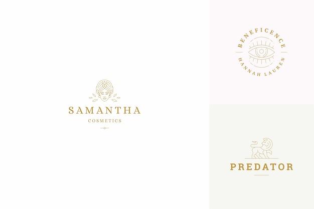 Line logos design templates set  female face and gesture hands illustrations minimal style