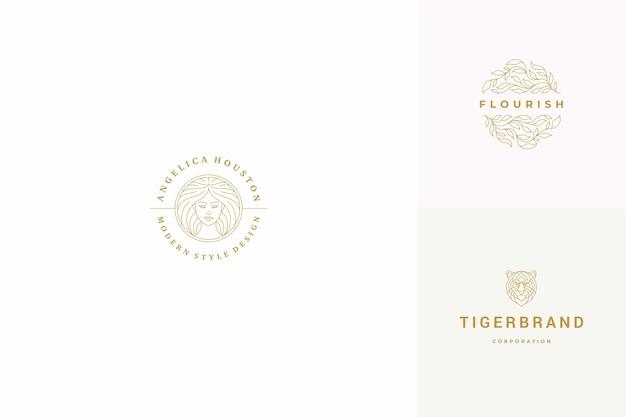 라인 로고 엠블럼 디자인 템플릿 세트-여성 얼굴 및 잎 삽화 간단한 최소한의 선형 스타일. 미용사 브랜딩 및 미용실에 대한 개요 그래픽.