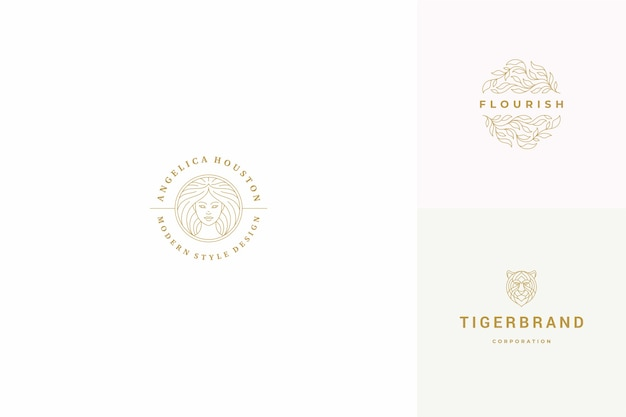 Line logos emblems design templates set - female face and leaves illustrations simple minimal linear style. outline graphics for hairdresser branding and beauty salon.