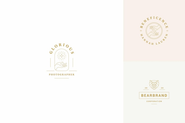 Line logos emblems design templates set