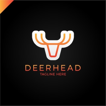 The line logotype is minimalist in the form of a deer head