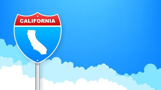 Линейная карта, показывающая штат калифорния из соединенных штатов америки. дорожный знак. векторная иллюстрация.