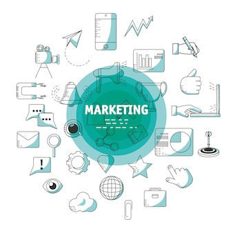 Line marketing strategy planning concept
