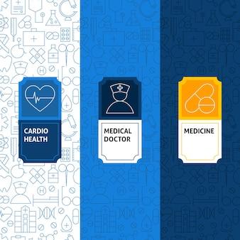 Line medicine patterns set. vector illustration of logo design. template for packaging with labels.