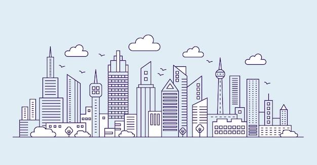 青い背景のパノラマにモダンな都会の大都市を並べます。都市景観の高層ビルの概要