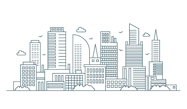 Line modern urban big city panorama. outline stroke cityscape skyscrapers  illustration