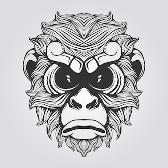 Line of monkey in black and white color