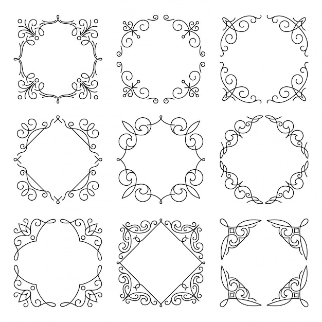 Line monogram frames set on white background