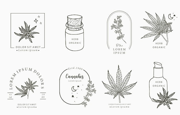 Line object collection, cannabis,bottle,dropper,star,shape