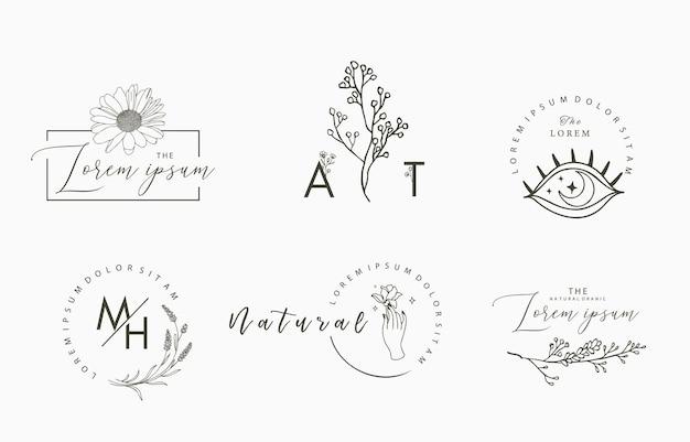 Коллекция объектов линии с рукой, магнолией, розой, лавандой, листом, цветком, подсолнухом