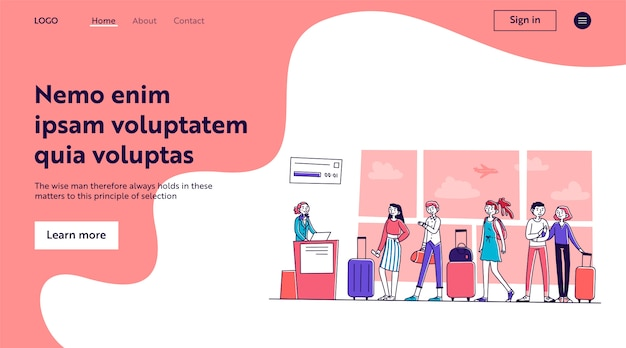 Линия туристов на стойке регистрации в аэропорту
