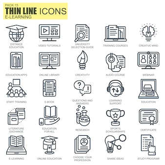 Line online education icons