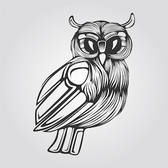 Line of owl in black and white color