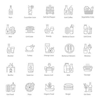 Набор иконок продуктов питания и напитков line pack