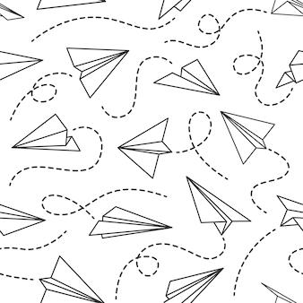 ライン紙飛行機のシームレスなパターン。点線のトラック、黒い描画壁紙ベクトルテクスチャ、ファブリックを使用して、さまざまな方向から飛行機を飛ばします。配達後の飛行、発明の概念