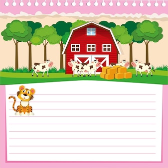 Line paper design with barn and cows