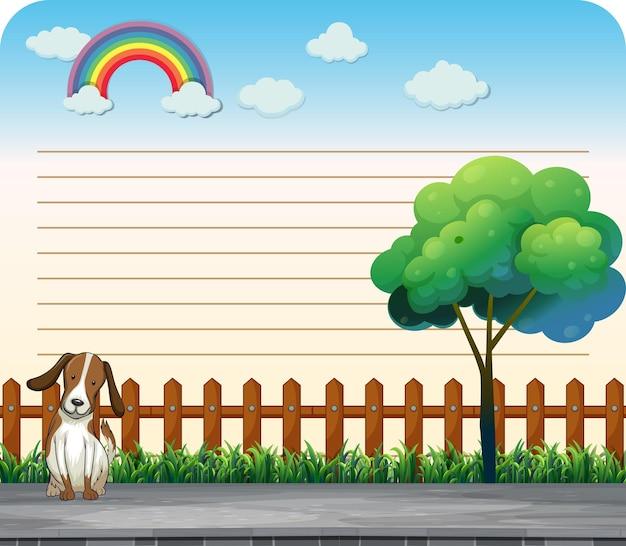 歩道に犬とラインペーパーデザイン