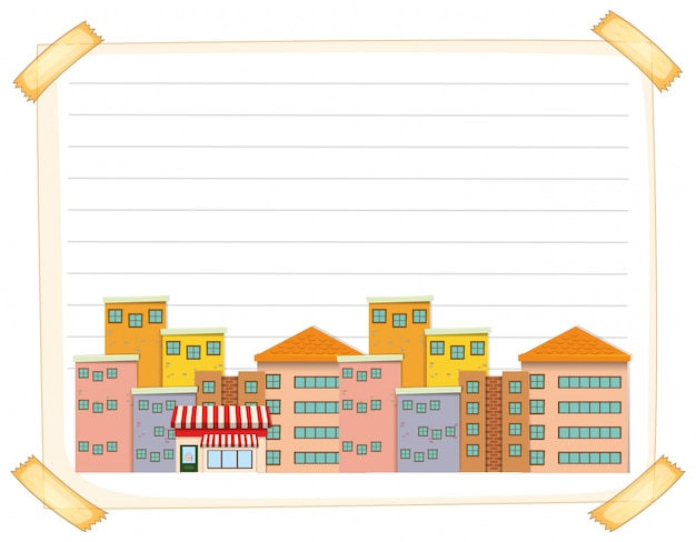 Line paper template with buildings