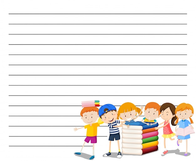 Line paper template with kids reading book background