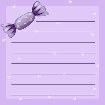Line paper template with purple candy