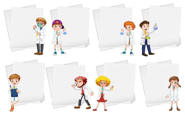 Линейные шаблоны для бумаги с людьми в белых халатах