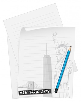 Line paper with blue pencil Free Vector