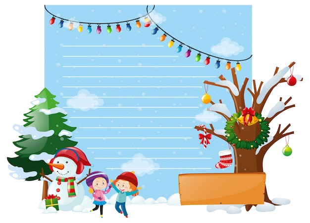 Line paper with kids and snowman