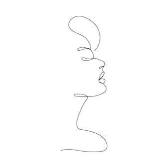 라인 초상화. 한 줄의 여자 얼굴. 페이스 라인 아트. 연속선. 패션 일러스트