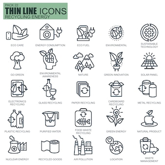 Line recycling energy icons