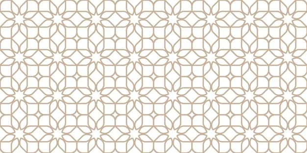 라인 원활한 꽃 패턴 동양 스타일, 베이지색 및 흰색 색상. 벡터 배경, 섬세한 벽지