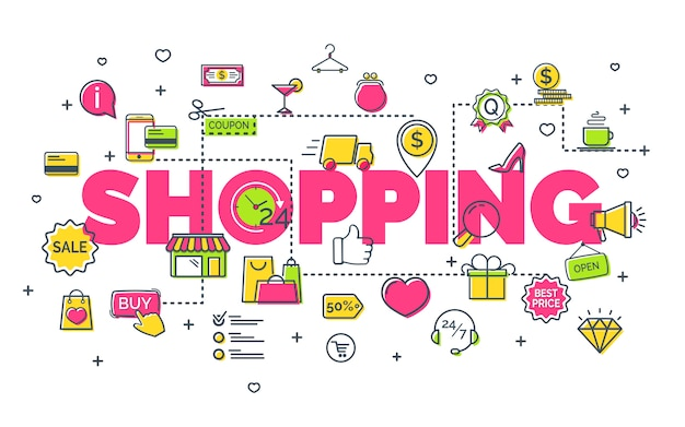 On-line shopping concept with modern thin line icons. creative idea concept