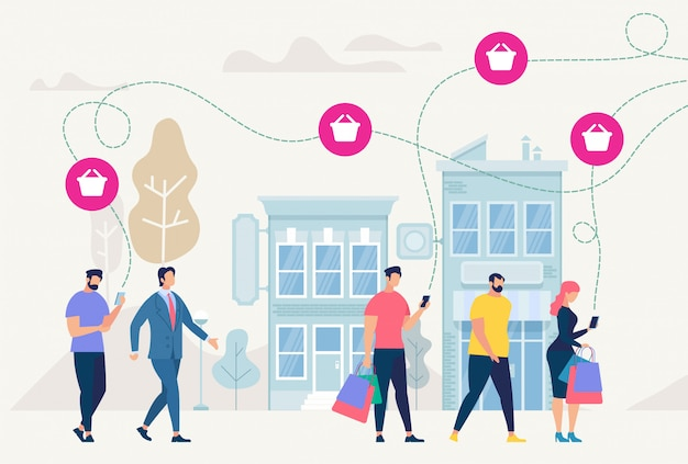 On-line shopping and network. vector illustration.