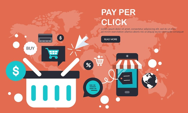 On line shopping and payment methods banner
