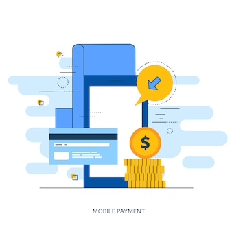 On line shopping and payment methods outline concept