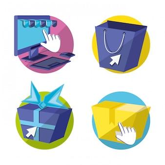 On line shopping set icons