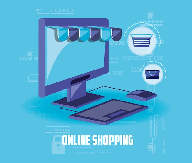 On line shopping with computer desktop