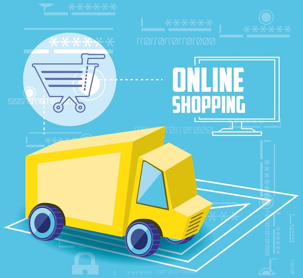 On line shopping with delivery truck