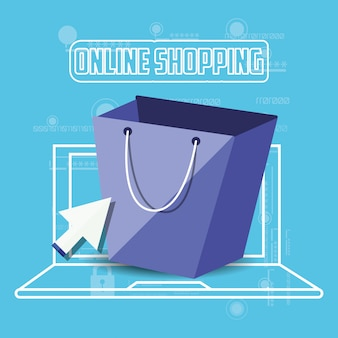 On line shopping with laptop