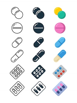 Line and silhouette icons of illegal drug tablets