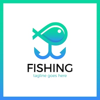 Line simple fishing two anchor logotype