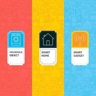 Line smart home patterns set. vector illustration of logo design. template for packaging with labels.