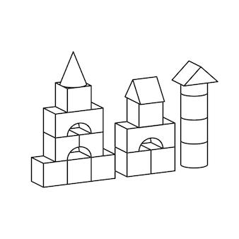 선 스타일 블록 장난감 타워 색칠하기 책. 벽돌 어린이 건물 건설, 성, 집. 흰색 배경에 고립 된 볼륨 스타일 그림