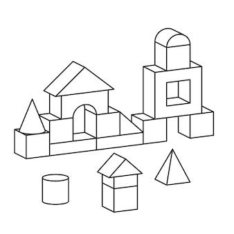 선 스타일 블록 장난감 타워 색칠하기 책. 벽돌 어린이 건물 건설, 성, 집.