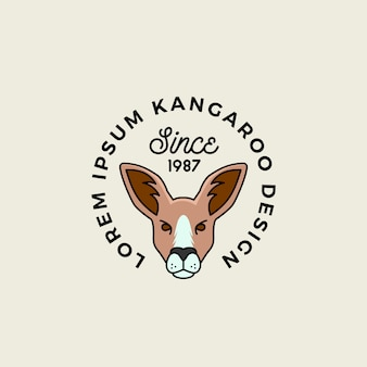 Line style cartoon kangaroo face with retro typography abstract sign, symbol or logo template.