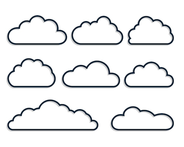 Line style clouds set of eight
