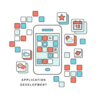 Line style of development process an application for mobile phone