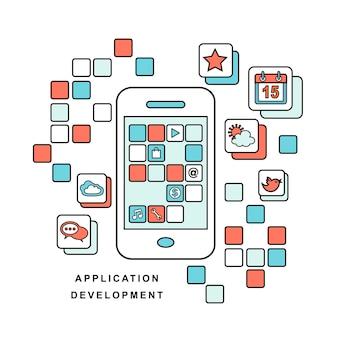 휴대 전화용 개발 프로세스 응용 프로그램의 선 스타일